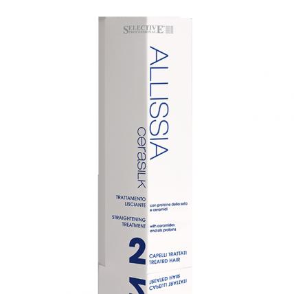 Selective Professional Kit Allisia Cerasilik Per Capelli Trattati - Набор для выпрямления химически обработанных и поврежденных волос, 150мл+100мл+100мл