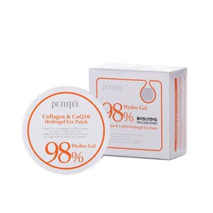 Petitfee 98% Collagen and CoQ10 Hydro Gel Eye Patch - Гидрогелевые патчи под глаза с коэнзимом Q10 и 98% содержанием коллагена, 60 шт