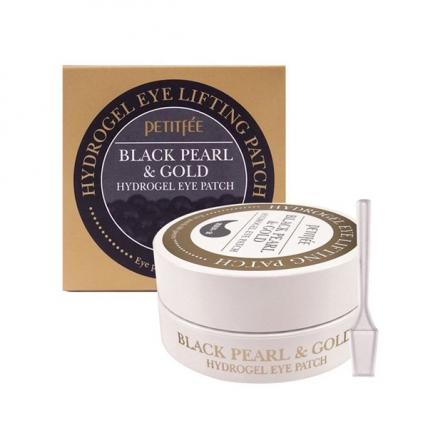 Petitfee Black Pearl and Gold Hydrogel Eye Patch - Гидрогелевые патчи для области вокруг глаз с коллоидным золотом и пудрой черного жемчуга, 60шт