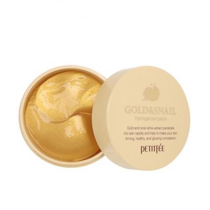 Petitfee Hydro Gel Eye Patch Gold and Snail - Гидрогелевые патчи для области вокруг глаз с муцином улитки и коллоидным золотом, 60шт